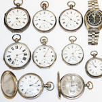 A collection of wrist watches and pocketwatches