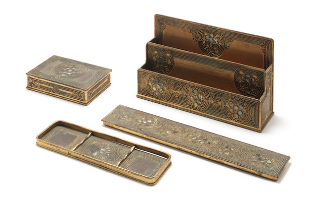 L.C Tiffany Studios A Gilt-Bronze and Abalone Desk Set, circa 1910
