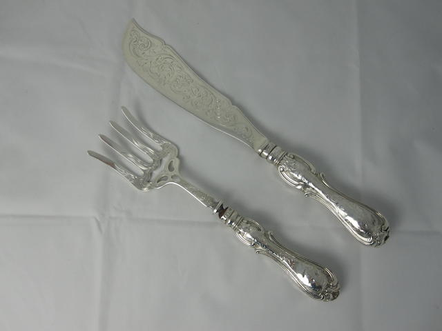 A pair of Victorian silver fish servers possibly by Ashforth & Harthorn, Sheffield 1851