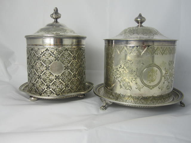 A plated cylindrical biscuit barrel circa 1890  (2)
