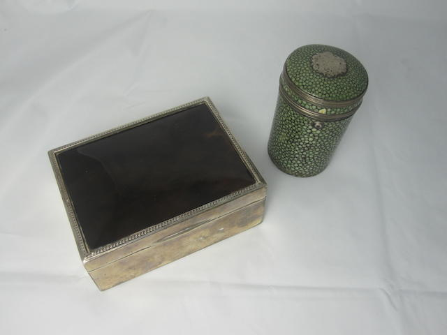 A silver mounted tapering cylindrical shagreen box unmarked  (2)