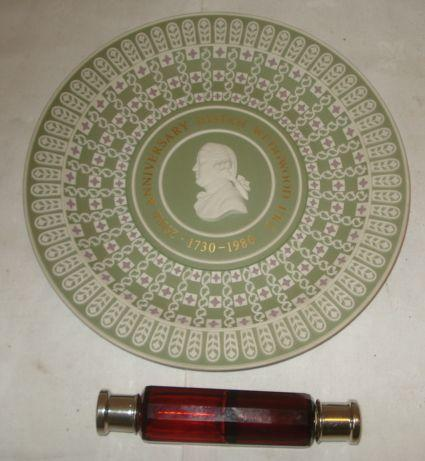A Wedgwood three colour Jasperware 250th Anniversary plate, 1730-1980, 133/250, 23cm, and a Victorian ruby glass double ended scent bottle with plated screw covers, 14cm.