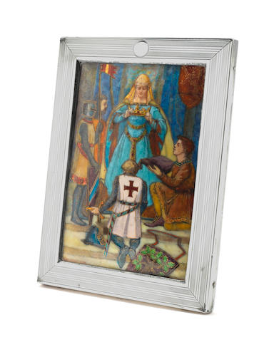Helena Mary Ibbotson 'Crowning the Victor' an Impressive Enamelled Plaque in Silver Frame, circa 1924