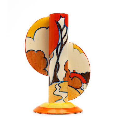 A Clarice Cliff 'Autumn' pattern Fantasque Bizarre finned stamford vase   1930