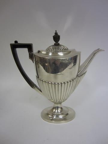 A Victorian silver coffee pot Sheffield 1883