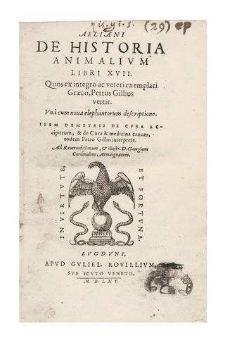 AELIANUS (CLAUDIUS) De historia animalium libri XVII, 1565