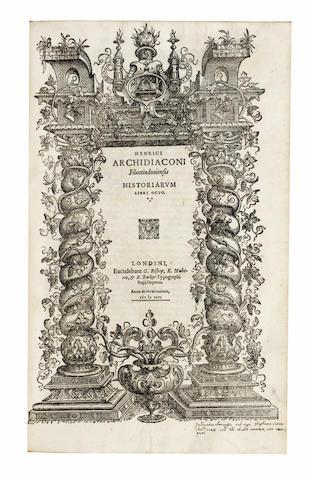 SAVILE (SIR HENRY) Rerum Anglicarum Scriptores, 1596