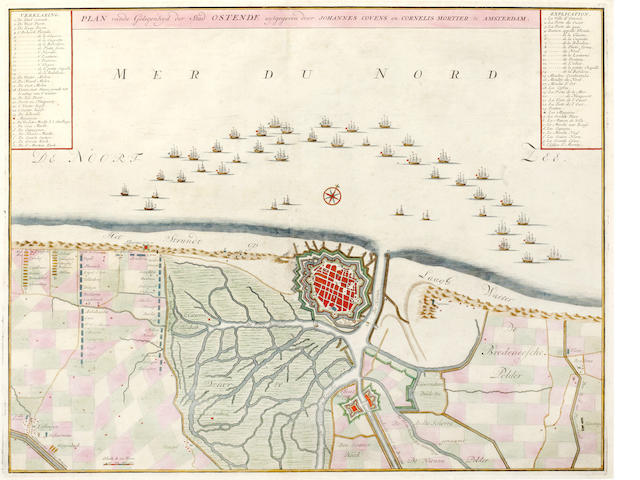 BELGIUM AND FRANCE. OSTENDE--Plan vande Gelegenhyd der Stad Ostende, c.1740, and 3 others (4)