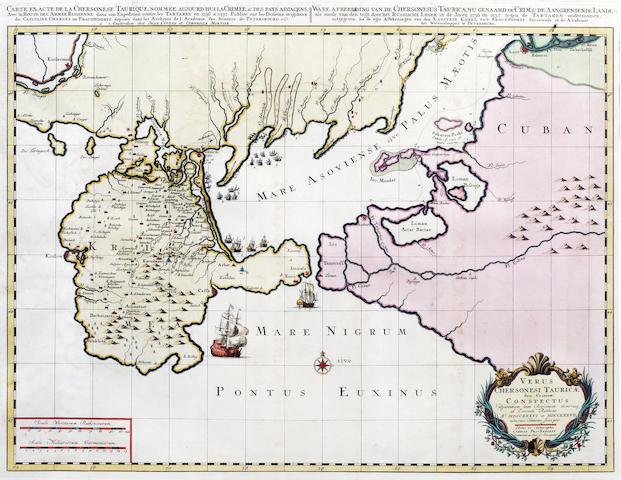 UKRAINE FRAUENDORFF (KAROL) Versus Chersonesi Tauricae seu Crimae conspectus, 1740 and 2 others of the Crimea (3)