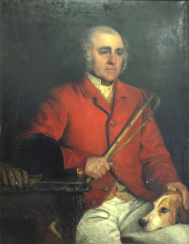 English School, (19th century) Portrait of a seated huntsman, his crop and a hound