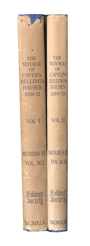 BELLINGSHAUSEN (FABIAN GOTTLIEB von) The Voyage of Captain Bellingshausen to the Antarctic Seas 1819-1821, 2 vol., The Hakluyt Society, 1945