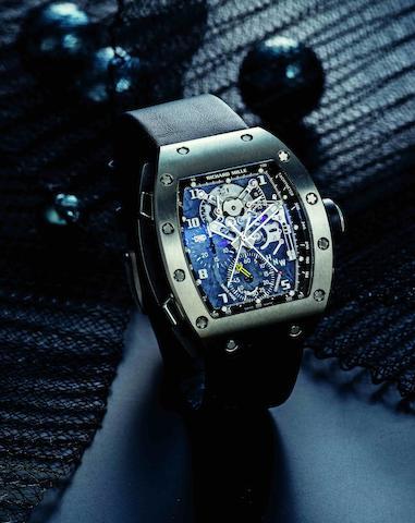 Richard Mille. A fine and very rare titanium manual wind chronograph rattrapante wristwatch Ref:RM004, Case No.AC Ti/27, Circa 2008