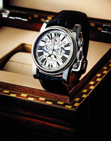 Roger Dubuis. A fine and rare limited edition 18ct white gold bi-retrograde perpetual calendar chronograph chronometer manual wind wristwatch with moon phasesHommage, No.07/28, Movement No.292, Circa 2005
