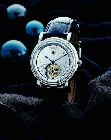 Parmigiani Fleurier. An extremely fine and rare PT950 platinum tourbillon manual wind wristwatch Toric Tourbillon, Ref:PF00384, Case No.8557, Movement No.005927, Circa 2000