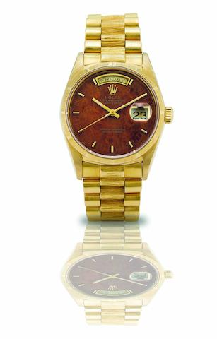 Rolex. A fine and rare 18ct gold calendar automatic bracelet watch Day-Date, Ref:18078, Case No.9828050, Movement No.1709412, Circa 1987
