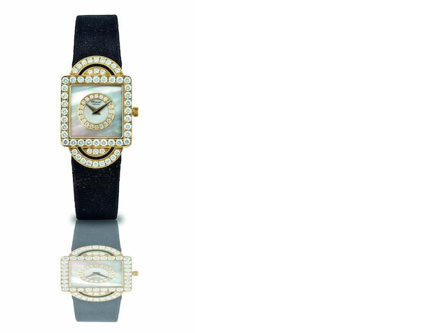 Chopard. A fine 18ct gold, mother of pearl and diamond set lady's quartz wristwatch Ref:13/5915, Case No.468593, Circa 2000s