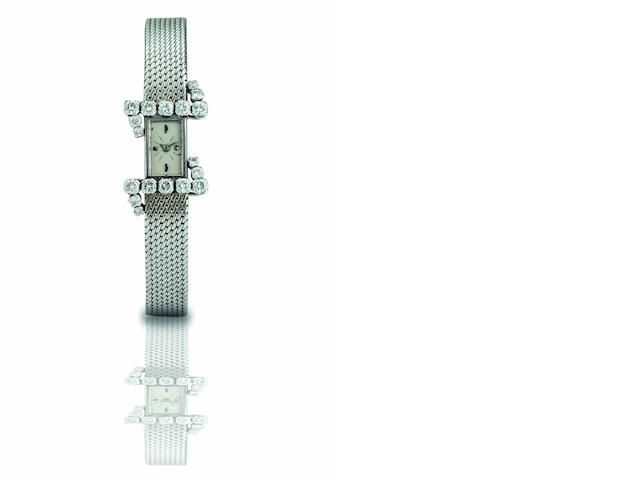 Vacheron & Constantin. A fine 18ct white gold and diamond set lady's manual wind bracelet watch Case No.375154, Circa 1960s