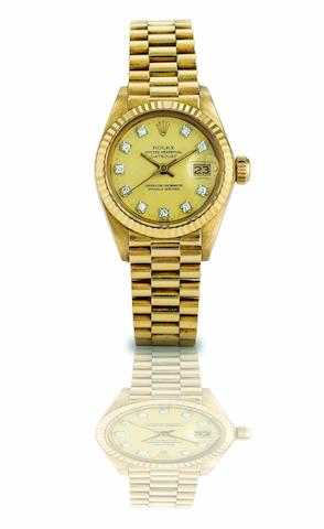 Rolex. A fine 18ct gold and diamond set automatic lady's bracelet watch Oyster Perpetual Datejust, Ref:6917, Case No.6709837, Movement No.979058, Circa 1980s