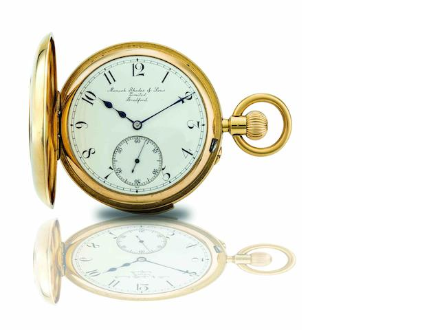 Manoah Rhodes & Sons, Bradford. An 18ct gold half hunter quarter repeating keyless wind pocket watch  Early 20th century, London Hallmark, Case & Movement No.48899