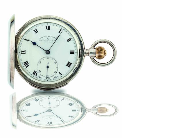 Thomas Russell & Son. A stainless steel quarter repeating full hunter keyless wind pocket watch  Case No.33339, Movement No.257059, early 20th century