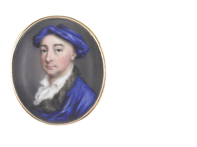 Jean André  Rouquet (Swiss, 1701-1758) A Gentleman, wearing blue coat with fur trim and matching cap, open white chemise