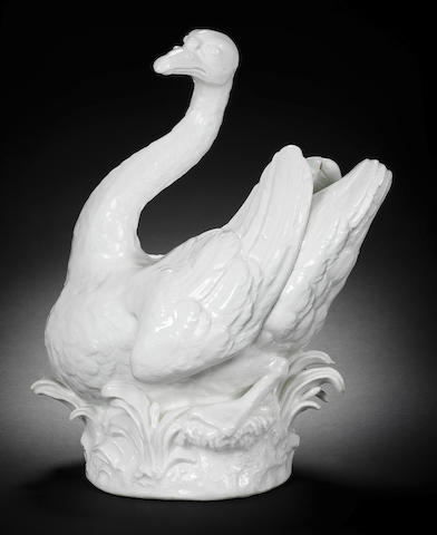 A large white Meissen model of a swan