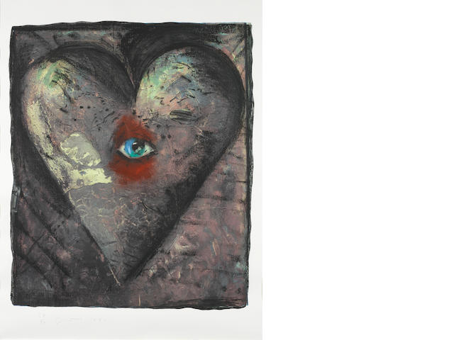 Jim Dine (American, born 1935) The Hand-Coloured Viennese Hearts V  Screenprint, etching and aquatint printed in colours, 1990, on Arches, signed, dated and numbered 38/40 in pencil,  published by Pace Editions, Inc., New York, with margins, 845 x 711mm (33 1/4 x 28in)(I)