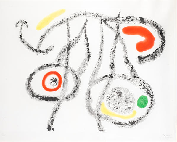 Joan Miro (Spanish, 1893-1983) Le Porteur D'Eau III Aquatint printed in colours, 1962, on Rives, signed and numbered 7/75 in pencil, published by Maeght Editeur, Paris, 565 x 745mm (22 1/4 x 29 3/8in)(PL)