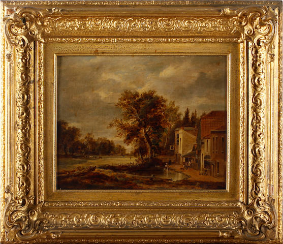 Manner of Patrick Nasmyth Village Pond,<BR />oil on canvas laid on panel