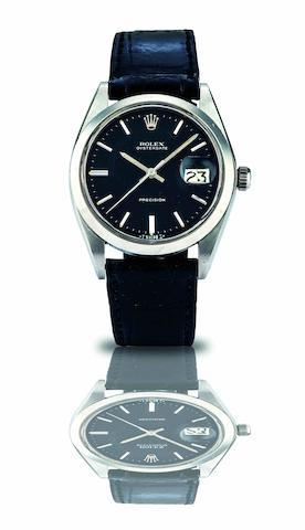 Rolex. A stainless steel calendar manual wind wristwatchOyster Date, Ref:6694, Case No.3186524, Circa 1970