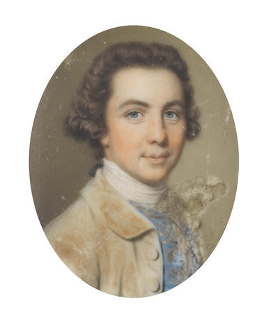 John Smart (British, 1742-1811) A Gentleman, wearing buff coat, blue waistcoat, white chemise and stock, his hair clubbed and tied with a black ribbon bow