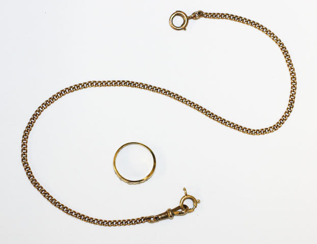 A diamond five stone ring, and a curb-link chain, (2)
