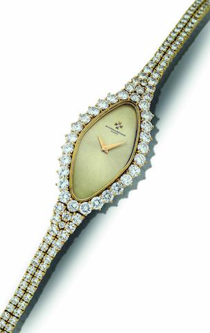 Vacheron Constantin. A fine 18ct gold and diamond set lady's manual wind bracelet watch Case No.532828P, Circa 1980