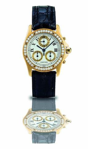 Cartier. A fine 18ct gold and diamond set calendar chronograph quartz wristwatchCase No.1530 0 C1074, Circa 1995
