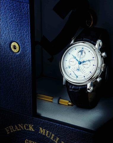 Franck Muller. A fine and rare 18ct white gold perpetual calendar chronograph automatic wristwatch with moon phases and equation of time Ref:7000 QPE, Case No.13, Circa 1990