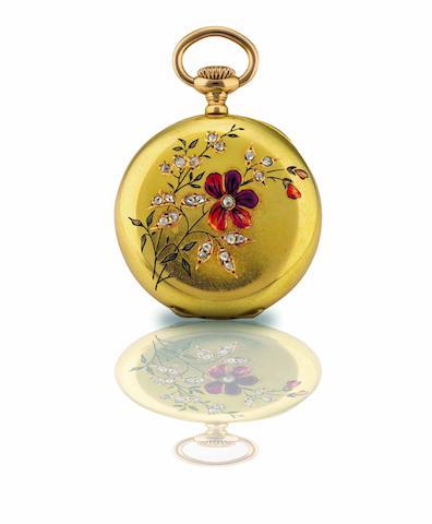 Patek Philippe. A fine 18ct gold, enamel and diamond set open face keyless wind pocket watch  Movement No.73958, Case No.206270, Circa 1890