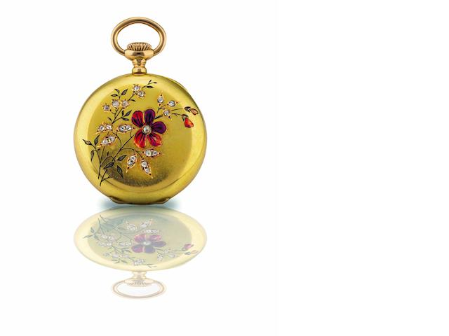Patek Philippe. A fine 18ct gold, enamel and diamond set open face keyless wind pocket watch  Movement No.73958, Case No.206270, Circa 1890