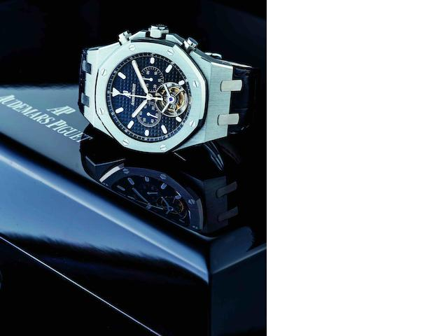Audemars Piguet. A very fine and rare stainless steel chronograph tourbillon manual wind wristwatch Royal Oak, Case No.F03621, Movement No.570739, Sold in 2003