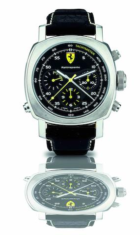 Ferrari by Officine Panerai. A fine large cushion shaped stainless steel automatic wristwatch with split second chronograph Ferrari Scuderia GMT, Ref:Fer00010, Case No.BB1317473, Movement No.05693. Made in a limited edition of 500 pieces, circa 2008