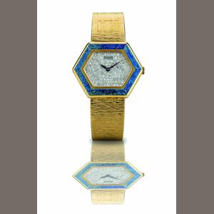 Piaget. A fine and rare 18ct gold, lapis and diamond set lady's manual wind bracelet watch Ref:9553 A6, Case No.283441, Circa 1970s