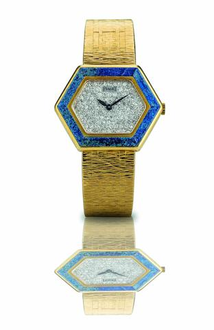 Piaget. A fine and rare 18ct gold, lapis and diamond set lady's manual wind bracelet watch Ref:9553 A6, Case No.283441, Circa 1970
