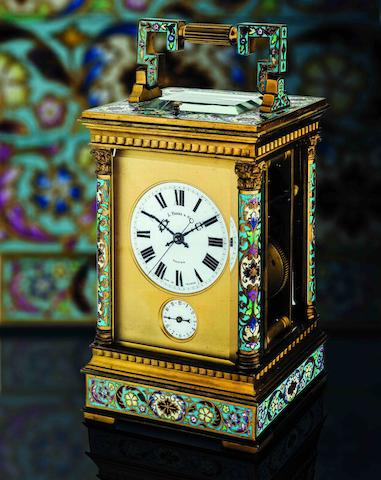 L. Vrard & Co. A fine gilt brass and French cloisonné enamel striking and quarter repeating carriage clock  Case No.4339, made for the Chinese market, Circa late 19th century