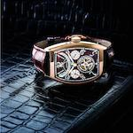 Franck Muller. A very fine and rare 18ct rose gold perpetual calendar tourbillon retrograde manual wind wristwatch with moon phases Cintree Curvex, Ref:8880 T QP, No.06, Circa 2009