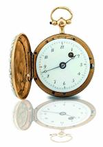 Unsigned. A fine gilt, enamel and seed pearl hunter case key wind pocket watchCirca 1816