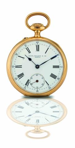 Patek Philippe. A fine 18ct rose gold open face keyless wind pocket watch Case No.221285, Movement No.93255, Circa 1890