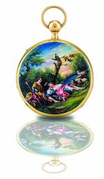G. H. Berblinger. A fine 18ct gold and enamel open face quarter repeating key wind pocket watch  Case No.15771, Circa 19th century
