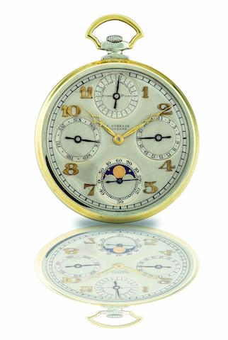 Gubelin.  A fine 18ct gold open face perpetual calendar moon phase keyless wind pocket watch  Case No.50642, late 19th century