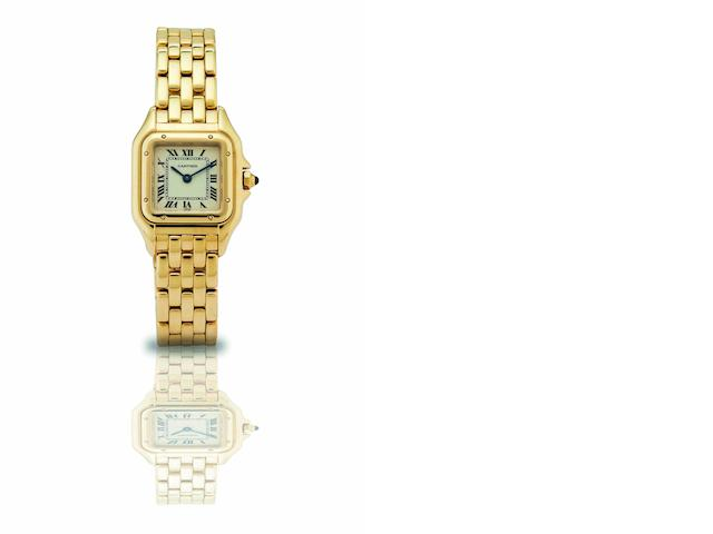 Cartier. A fine 18ct gold lady's quartz bracelet watch Panther, Case No.001090, 1990's
