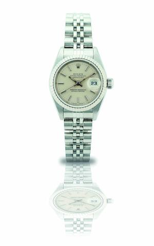 Rolex. A fine lady's stainless steel calendar automatic bracelet watch Oyster Perpetual Datejust, Ref:69174, Case No.W789025, Movement No.329838, Circa 1994