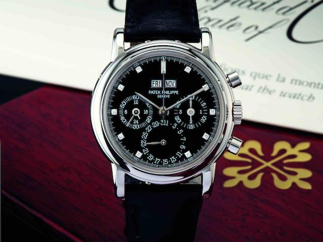 Patek Philippe. A fine and rare PT950 platinum perpetual calendar chronograph manual wind wristwatch with moon phaseRef:3970EP, Case No.4131137, Movement No.3046291, Sold in 2001